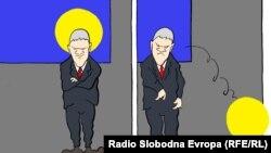 Serbiýaly Predrik Koraksiç Koraksyň çeken karikaturasy.