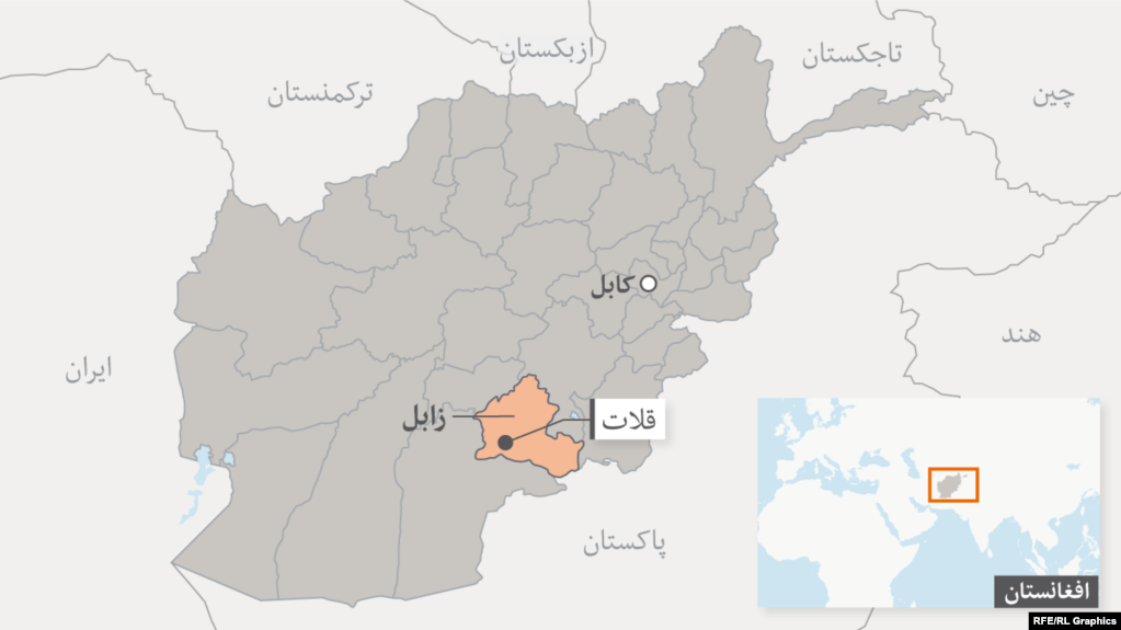 The reported attack occurred in Afghanistan's southern Zabul province (marked in orange on the map).