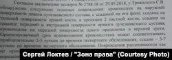 Фрагмент из заключения экспертов о побоях, нанесенных полицейскими Сергею Троянскому