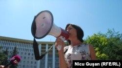 Maia Sandu la protestul de la Chișinău de la 21 iulie 2017