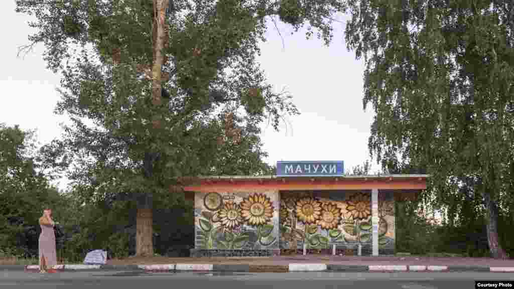 Mosaics enliven a bus stop in Lelyukhivka, in Ukraine's Poltava region.