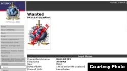 Информация на Интернет-сайте Интерпола об объявлении в розыск гражданина Казахстана Асхата Даулбаева. 23 февраля 2011 года.