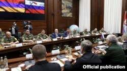Russia - Armenia's and Russia's defense ministers and other senior military officials from the two states hold talks in Moscow, August 11, 2021.