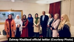 U.S. Special Representative Zalmay Khalilzad met with Afghan women in Doha on July 6.