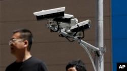 Камеры наблюдения, установленные в Пекине. Иллюстративное фото.