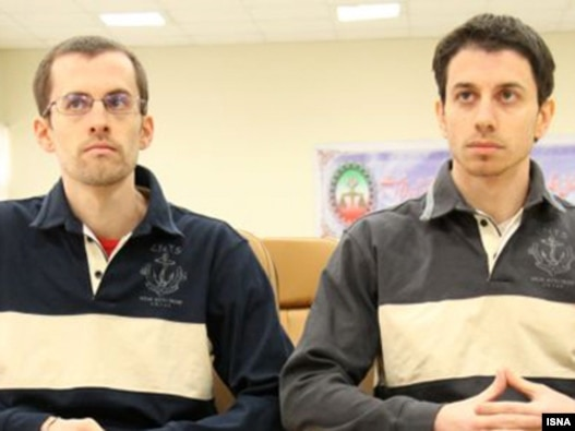 Shane Bauer (left) and Josh Fattal, at the first session of their trial in Tehran Revolutionary Court in February