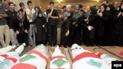 Похороны погибших при бомбардировке южных кварталов Бейрута