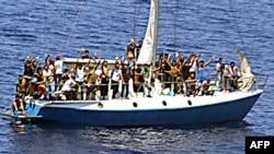 Ilustrim i një anijeje me imigrantë ilegalë