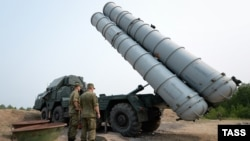 A Russian S-300 surface-to-air missile system is seen during a military drill by Russian Air Force and Air Defense Force units at Telemba Firing Range in July 2015.