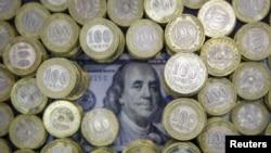 Kazakhstan -- 100 tenge coins and 100 U.S. dollars banknote -generic
