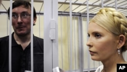 Yuriy Lutsenko (left) and Yulia Tymoshenko meet in a courtroom in Kyiv in May.