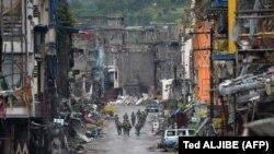 Город Марави на Филиппинах, освобожденный после ожесточенный боев правительственных войск с исламистами. 17 октября 2017 года.