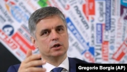 ITALY -- Ukrainian Foreign Minister Vadym Prystayko gestures as he speak during a meeting with the press at the Foreign Press Association in Rome, February 10, 2020