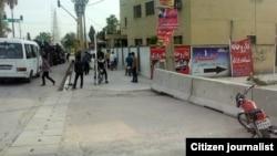 نیروهای ویژه پلیس ساعتی پس از حادثه تیراندازی در ممسنی، در یکی از مناطق شهر. تصویر ارسالی یکی از شهروندان روزنامهنگار