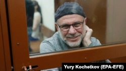 Aleksei Malobrodsky attends a court hearing in Moscow on October 17.