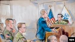Рисунок из зала суда над Брэдли Меннингом