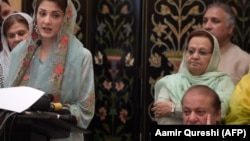 Nawaz Sharif (right) attends a press conference of his daughter, Maryam Nawaz (left), in Islamabad in May.