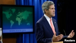 وزير الخارجية الأميركي جون كيري يتحدث في واشنطن عن الوضع في سوريا.