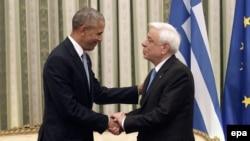 Претседателите на САД и на Грција Барак Обама и Прокопис Павлопулос, Атина, 15.11.2016.