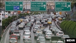 A common traffic jam in Tehran, Iran.
