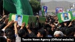 Мешхед, Иран. Похороны 4 афганских беженцев, убитых в Сирии