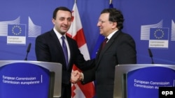 Georgian Prime Minister Irakli Garibashvili (left) during a joint press conference with EU Commission President Jose Manuel Barroso after a meeting at the European Commission headquarters, in Brussels on February 3.