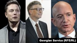 Гендиректор Tesla и основатель SpaceX Илон Маск, основатель Microsoft Билл Гейтс и основатель Amazon Джеф Безос (слева направо).