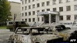 A police station in Nalchik after the 2005 raid