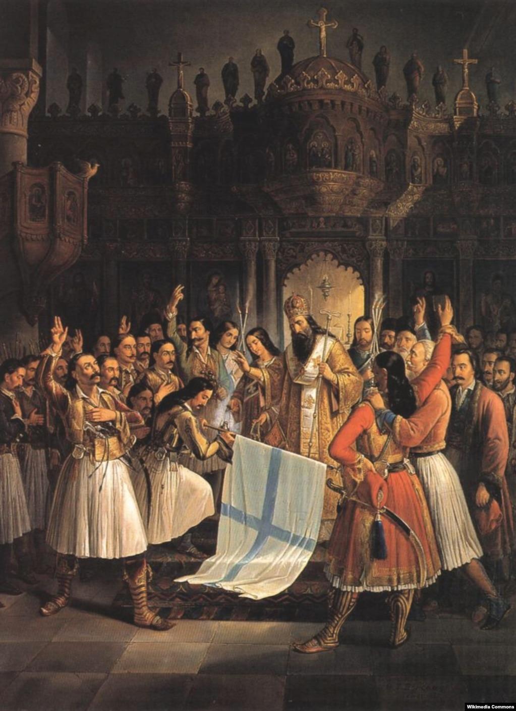 Грецький митрополит Германос благословляє стяг повсталих у монастирі Ая-Лавра, Робота художника Феодорос Врізакіс
