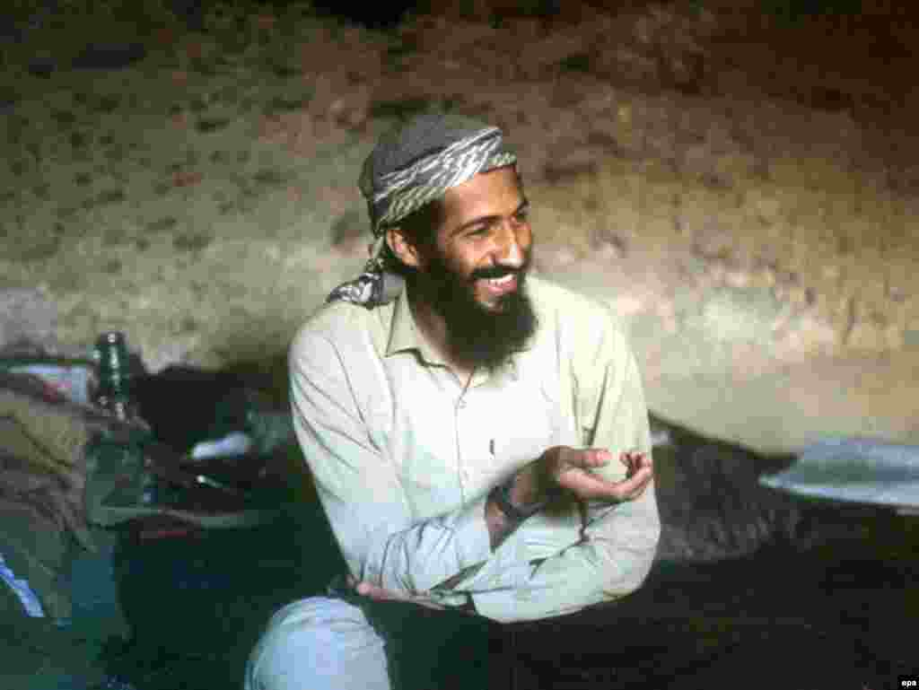Osama bin Laden in a cave in the Jalalabad region of Afghanistan in 1988.