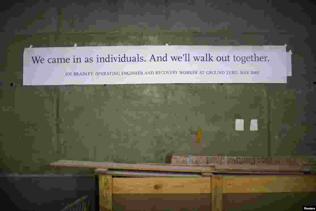 A message from a recovery worker appears on the wall inside the Memorial Museum.