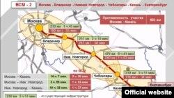 Мәскәү-Казан тизйөрешле юлының харитасы