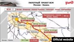 Карта-проект одной из высокоскоростных веток Российских железных дорог
