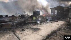 Pamje nga djegia e pikës kufitare Kosovë-Serbi