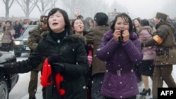 Mourners react as a car carrying Kim Jong Il's body passes by during the funeral procession in Pyongyang on December 28.