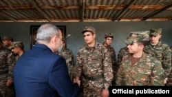 Armenia -- Prime Minister Nikol Pashinian visits an Armenian military base in Syunik, April 21, 2021.