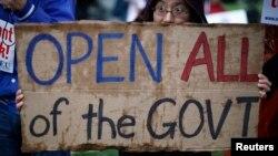 """Акция против """"выключения"""" правительства на Капитолийском холме"""