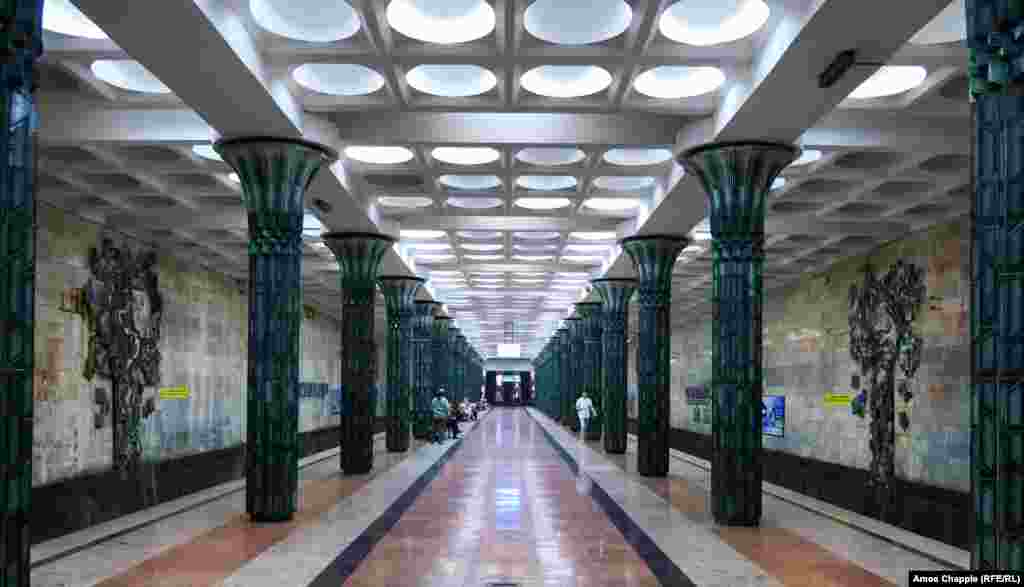 A station of the Tashkent Metro in Uzbekistan, August 9. A longtime ban on photographing the underground stations was lifted this year. See more of Uzbekistan's Secret Underground in our feature story. (Amos Chapple, RFE/RL)