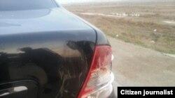 Повреждения на автомобиле после нападения