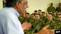 US Secretary of Defense Leon Panetta speaks with US troops during his recent visit to Kabul.