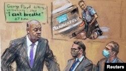 Рисунок, сделанный во время суда над полицейским. Обвиняемый Дерек Шовин - крайний справа. Март 2021