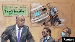 Рисунок, сделанный во время суда над полицейским. Обвиняемый Дерек Шовин - крайний справа. Март 2021 года.