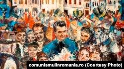 Moment de sărbătoare bihoreană; oferit de Comitetul judeţean de partid Bihor; 1978; ulei pe pânză. Sursa: comunismulinromania.ro