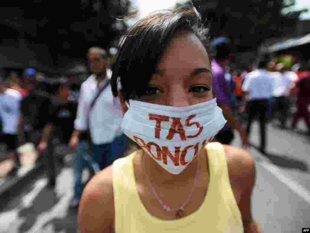 Пратэст у Вэнэсуэле супраць закрыцьця апазыцыйнага тэлеканалу, які адмовіўся трансьляваць выступы прэзыдэнта.