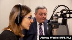 დავით უსუფაშვილი და სალომე ასათიანი რადიო თავისუფლების პრაღის სტუდიაში