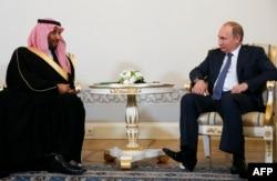 Владимир Путин и Мухаммад бин Салман Аль Сауд в Петербурге. Июнь 2015 года