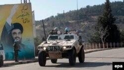 عکس سید حسن نصرالله، رهبر گروه حزبالله لبنان، در نزدیکی مرز اسرائیل.