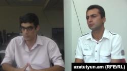 Armenia -- Armenian Yazidi activists Boriz Murazi (L) and Sasha Sultanian, 13 August 2014.