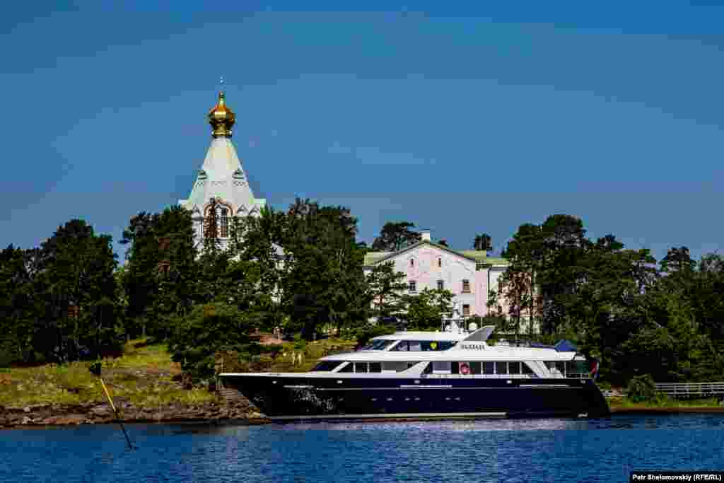 A private yacht belonging to Patriach Kirill, the head of the Russian Orthodox Church, is moored near the monastery.
