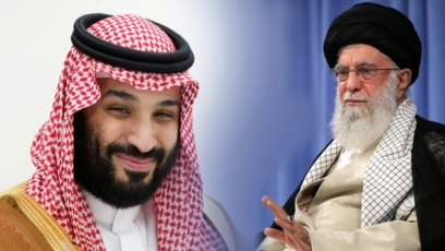 cover image - video -Saudi Arabia's Crown Prince Mohammed Bin Salman and Iranian leader Ali Khameni, composite photo, Balkan service, September, 2019.